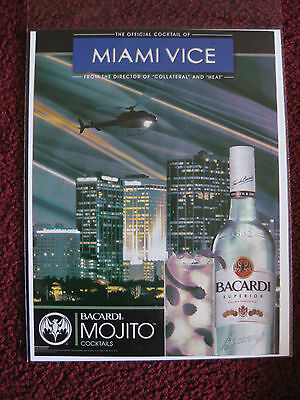 2006 Print Ad Bacardi Mojito Rum ~ MIAMI VICE Helocoptor at Night Cocktail Green