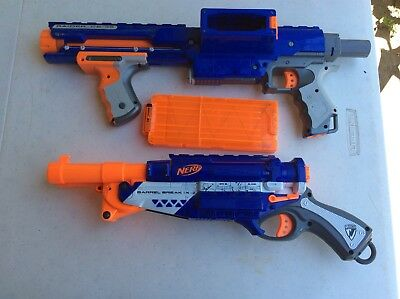 Nerf N-Strike Elite Double Barrel Shotgun & Nerf Dart Blasters W/Clip Lot of 2