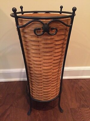 Longaberger Umbrella Basket w/ Protector and Wrought Iron Stand
