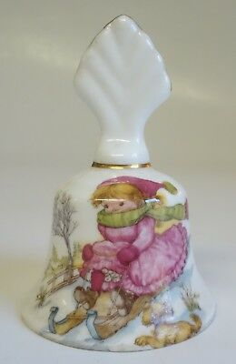 FENTON CHINA CHRISTMAS BELL VINTAGE ENGLISH BONE CHINA Girl Snow Sled Dog
