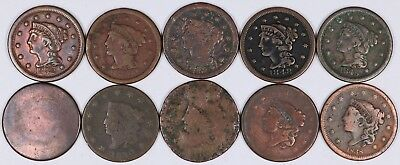 Lot of 10 Draped Byst & Coronet Large Cent 1C Copper 1800's - 1852