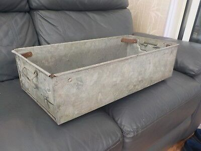 Vintage Industrial Galvanised Metal Tray Tool Box Garden Planter Ornament