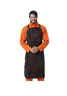 Leather Welding Bib Apron for Woodwork/Home Improvement/Heavy Duty Work (Brown)