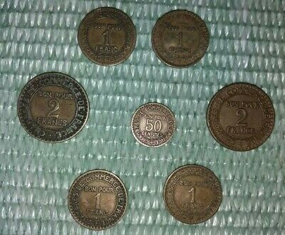 Collection Of 7 Commemorative 1920-1923 France Coins - French Vintage Lot