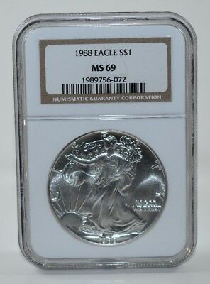 1988 American Silver Eagle 1 Oz .999 Silver NGC MS69 Brown Label