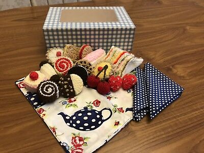 Hand Knitted Tea Time Box, Tea Party, Picnic, Cakes Toy Food, Play, Role Play