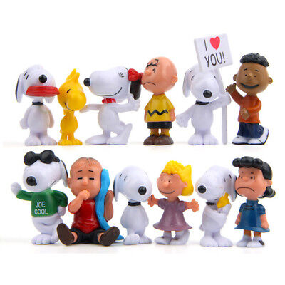12 pcs/set Beagle Charlie Brown And Friends Peanuts Woodstock Girl Kid Toy Anima