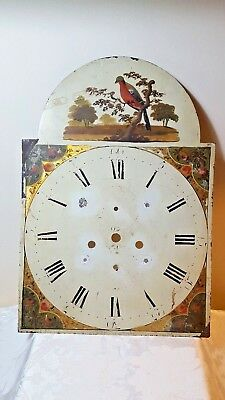 Painted Longcase Clock Dial  For Spares Or Repairs