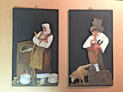 German Folk Art Figures Hand Painted bas relief 19th century Black Forest ?