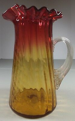 Antique Paneled Swirl Amberina Glass Pitcher ~Ruffled Top, Applied Ribbed Handle