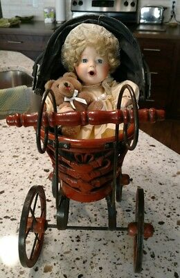 Vintage Victorian Baby Buggy Carriage with Porcelain Doll