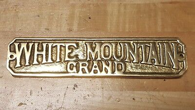 Antique Vintage Brass Bronze Plaque Name Plate for White Mountain Grand