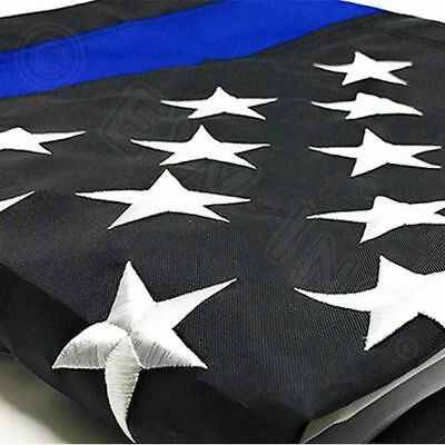 Thin Blue Line American Flag Police With Embroidered Stars and Sewn Stripes 3x5