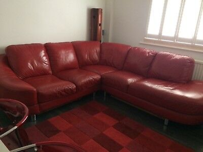 DFS RED LEATHER corner sofa, excellent condition - £300.00 ...