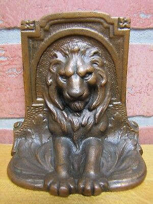 Antique Lion Bookend Cast Iron Bronze Wash Finish ornate detailing high relief