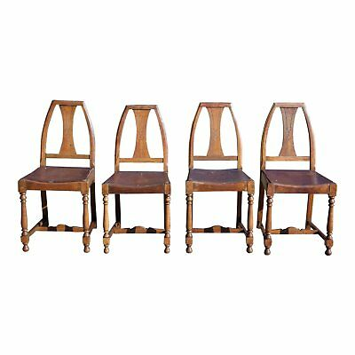 Antique Set of 4 Mission Arts & Crafts Solid Oak Dining Chairs