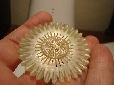 Antique Vintage light JADE sunflower design pad back button