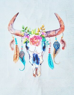 DIY Boho Longhorn Cow Skull with Feathers and Flowers Vinyl Transfer