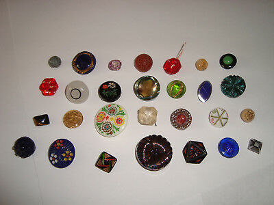 Antique Vintage LOT of 28 different glass buttons