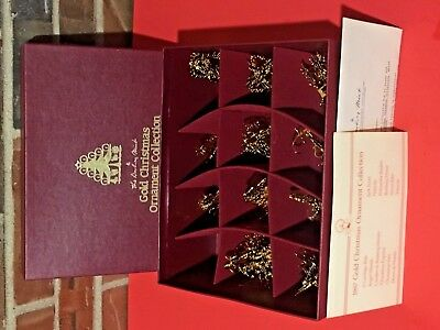 Set of 11 Danbury Mint 1987 Gold Christmas Ornaments with Box