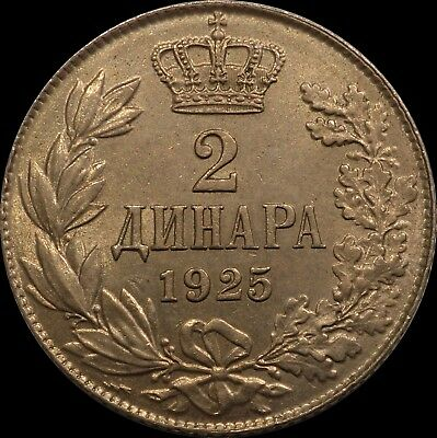 Serbia Yugoslavia two dinars 1925 top condition coin