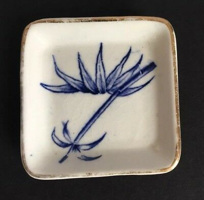 Antique White and Cobalt Blue Butter Pat Dish ~ Square