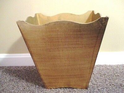 Rich Gold Wood Tole Design Vintage Italian Florentine Waste Trash Basket Can