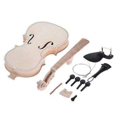 DIY 4/4 Full Size Natural Solid Wood Violin Fiddle Kit Spruce Top Maple A2A8