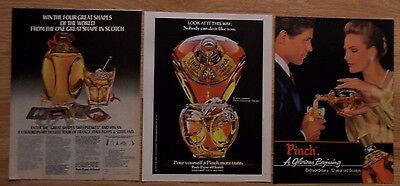 Lot of 3 Different PINCH Scotch Whiskey Print Ads ~ Glorious Beginnings +