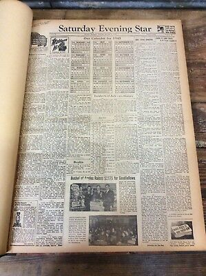 Antique Vtg 1945 JACKSON MICHIGAN Saturday Evening Star Archive Book Newspaper