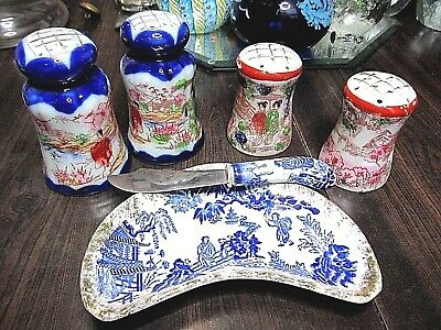 Vintage Porcelain Vintage Japanese Japan Salt Pepper Knife Dish Butter Antique