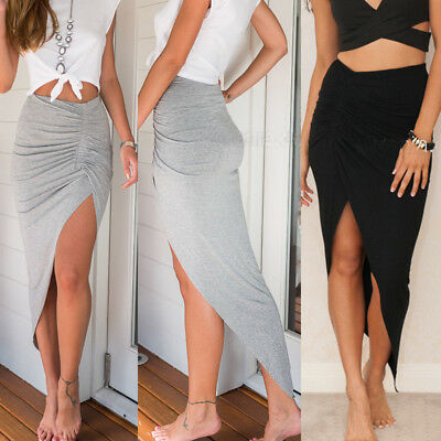 NEW GIRLS AND WOMENS RUCHED SIDE SPLIT SLIT MAXI SKIRT DRESS SIZE S-XXL Beauty