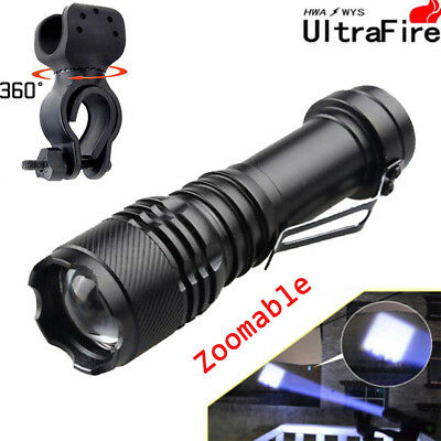 UltraFire 15000LM Zoomable 3modes T6 LED Flashlight Compact 14500/AA+Bike clips