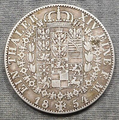 1854A German States Prussia Thaler Silver Coin - KM# 465