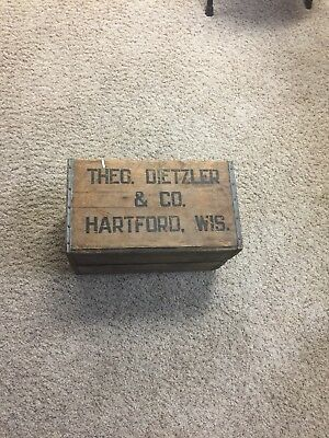 Theo Dietzler Wood Soda Crate Hartford Wi Old Vintage Antique