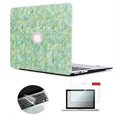 Se7enline Macbook Air 13 inch Case Embossed with Green Leaf Designs Plastic Hard