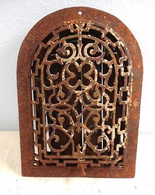 Antique Cast Iron Raised Arched Grate With Louvers