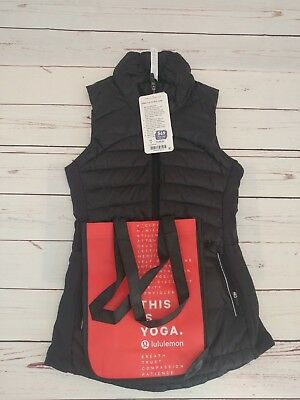 NWT LULULEMON Down For A Run Vest II Black Goose Down W Shopping Bag Size 2, 4