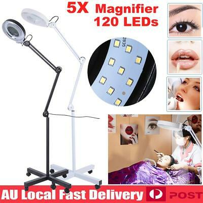5x Magnifying Lamp Glass Lens Beauty Round Head 120 LED Light Magnifier Stand AU