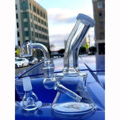 "Collectible Tobacco Glass Water Pipe Bong Bubbler Hookah Rig 6"" w/ Banger + Bowl"