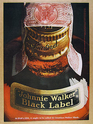 1968 Johnnie Walker Black Label Scotch BIG bottle photo vintage print Ad