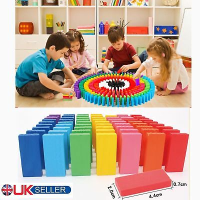 240Pcs Wooden Coloured Tumbling Dominoes Set Family Game Kids Play Toy Xmas Gift