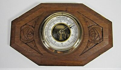 French Oak Wooden Barometer Antique Wall Hanging Art Deco Hand Carved