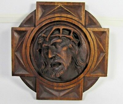 Wall Plaque French Antique Figure Jesus Christ Signed Hand Carved Wood Pediment