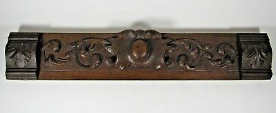 Antique Wooden Pediment French Hand Carved Oak Ornament Salvaged Architectural