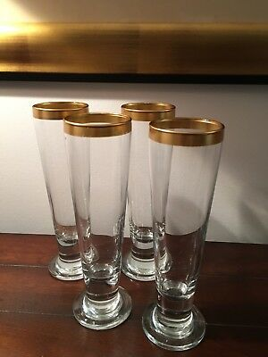 Gold Rim  Tall Footed Beer Glasses Set of 4