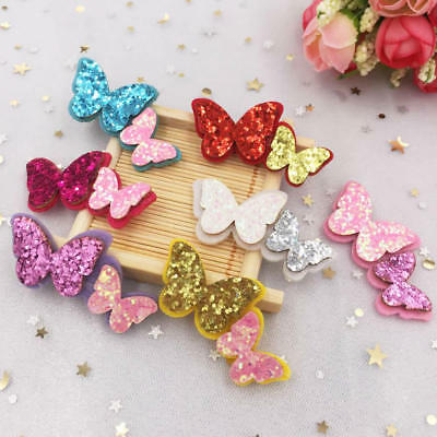 New 10pcs glitter Felt Butterfly Applique for clothe Sewing Supplie DIY patches