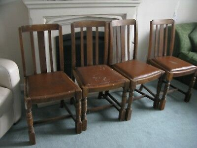 1930/40's Wooden Dining Chairs in original condition x4