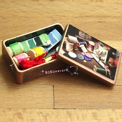 Dollhouse Miniature 1:12 Toy Metal Antique Sewing Box With Accessories HM36A