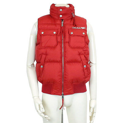 Auth DSQUARED2 Down Vest Puffer Red Size 48 MENS 90061025